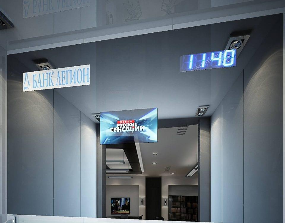 Дизайнерский телевизор burgglass в лифте Банк Легион