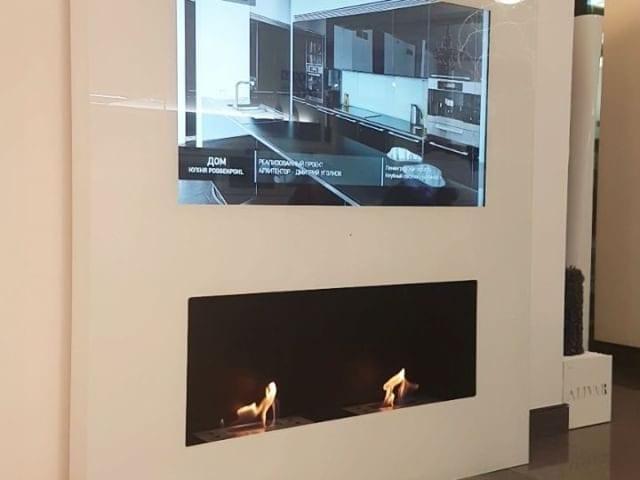 Burg&Glass 48 дюйма с био камином в белом стекле