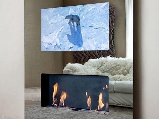 Решение DOUBLE ART:  Био-камин, телевизор размером 32-55 дюйма, аккустика, Apple TV в едином стекле или зеркале