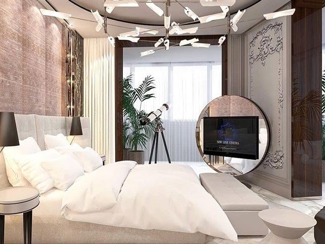 Очень красивое и необычное решение зеркального ТВ в спальне от @constantinfrolov