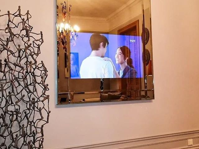 Зеркальный телевизор #BurgGlass 49 дюйма  Шикарное зеркальное панно с фацетом 20 мм