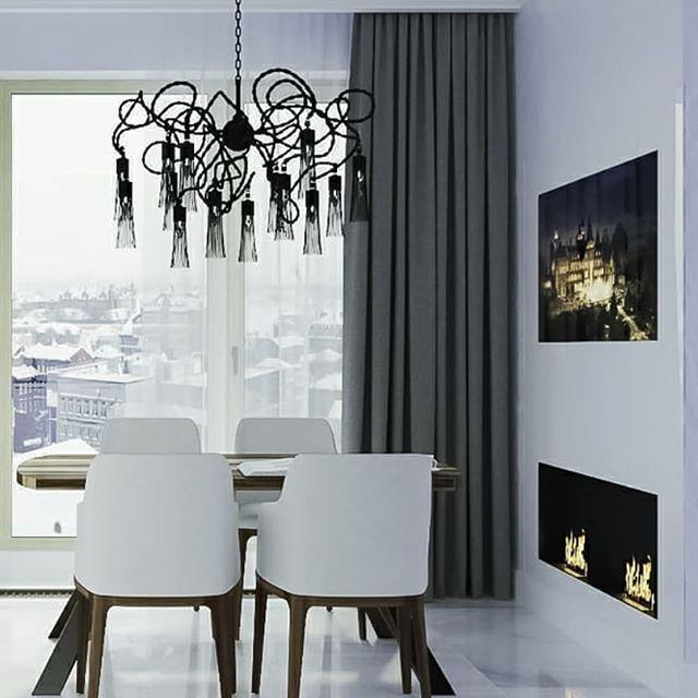 От визуализации до решения на объекте  Цельное белое стекло от пола до потолка
